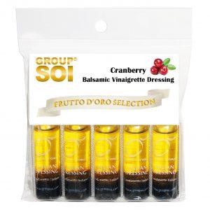 Frutto d'oro, Cranberry Balsamic Vinaigrette Dressing, condimenti monodose, condimenti, olio extra vergine di oliva, aceto balsamico, monoporzione, kit