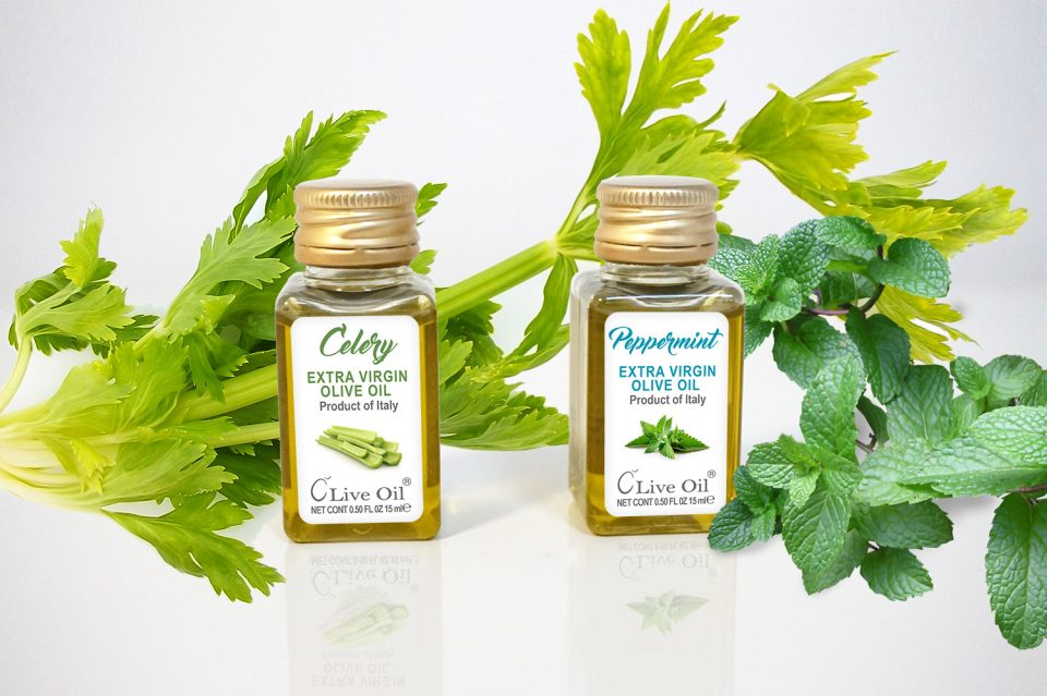 Live Oil, Extra Virgin Olive Oil Celery, Peppermint, Sedano., Menta Piperita