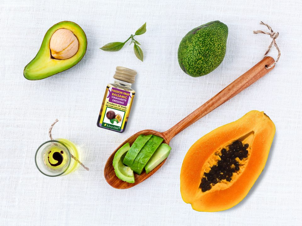 Avocado, papaya salad with passion fruit vinaigrette dressing